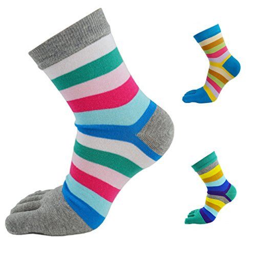 PNBB Womens Stretch Deodorant Toe Socks Color Stripe Pattern 3 Pairs of Pack