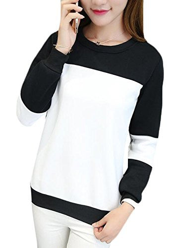 XQS Women's Slim Long-sleeved Round Neck Sweater Picture color OS