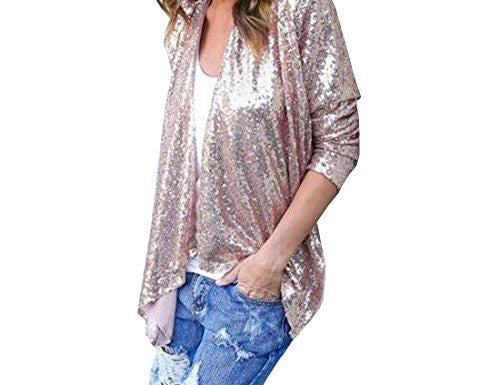 xiaokong Women's Basic Casual Open-Front Solid Sequins Jacket Tops Coat As picture L