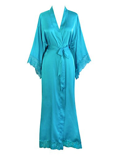 Old Shanghai Women's Kimono Robe Long - Lace Trim (Turquoise)