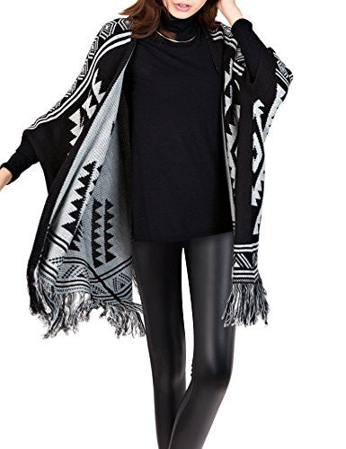 DELUXSEY Womens Aztec Pattern Double-Layer Cardigan Poncho (Black, L - XL) 12311