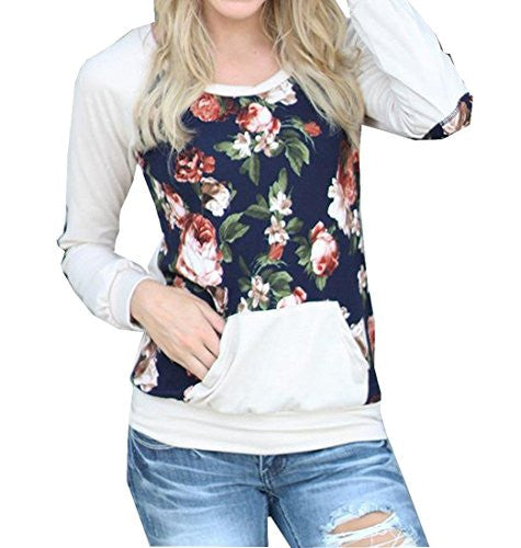 Comfy Womens Long Sleeve Floral Casual Round Neck Hoodies White L