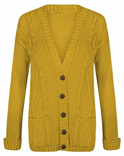 RZN Fashion Women Ladies Long Sleeve Button Top Chunky Aran Cable Knitted Grandad Cardigan, Mustard, Large