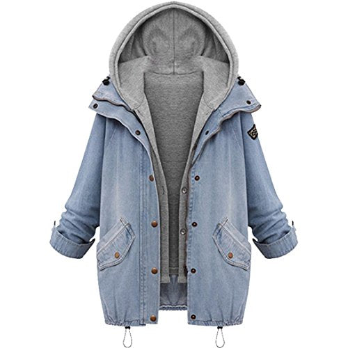 LUCA New Fashion 2017 Winter Women Warm Collar Hooded Coat Jacket Denim Trench Parka Outwear (XXXXL, Blue)
