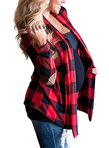 Ruanyu Women's Casual Plaid Print Long Sleeve Elbow Patch Draped Open Front Cardigan Sweater ((US 18-20) XX-Large, Red)