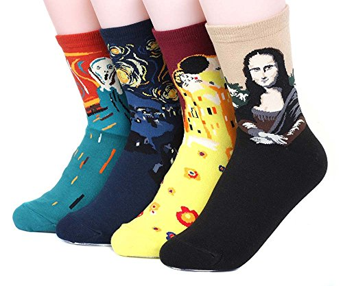 4 pairs of Women`s Famous design Cotton Blend Crew Socks By Ksocks (4 Pair Collection)