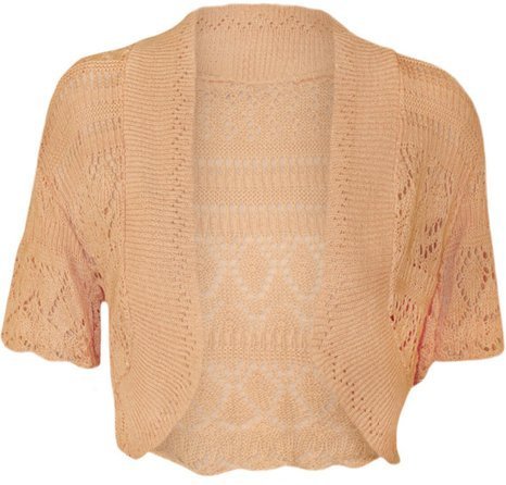 MyMixTrendz - Womens Crochet Knit Midi Sleeve Bolero Shrug (UK 8-12 (EU 36-40 US 4-8), Peach)