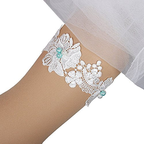 MerryJuly Bridal Wedding Garter set Lace Ivory Blue Pearl (XXXL)