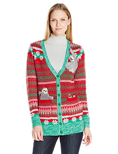 Blizzard Bay Women's Sloth Cardigan Ugly Christmas Sweater, Red/Yellow/Green, S