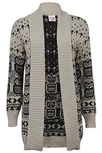 Forever Womens Long Sleeves Cross Skull Star Owl Printed Knitted Cardigan Top