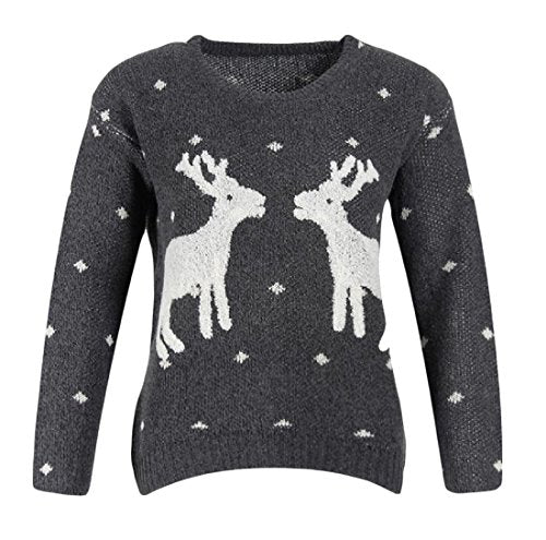 Fseason Women's Classic Christmas Elk Long Sleeves Pullovers Sweater Dark Grey One-Size