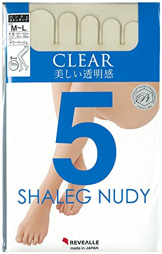 REVEALLE Five Toe Pantyhose, Tights Double Covered Yarn Support, Beige M-L made in Japan