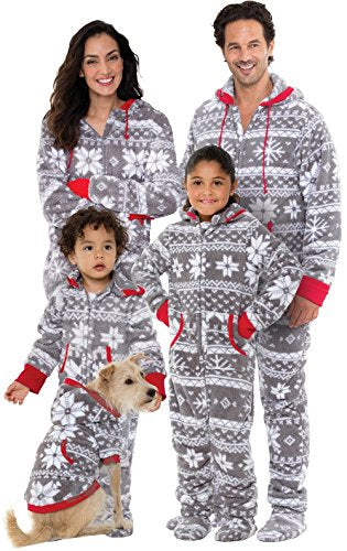 PajamaGram Onesie Nordic Fleece Matching Family Set, Dog Medium, Gray