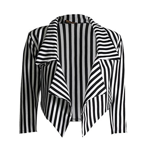 Womens ¾ Sleeves Stripes Print Waterfall Crop Blazer