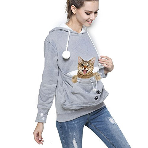 Womens Pet Hoodies Kangaroo Pocket Sweatshirt, Blinvas Long Sleeve Sweatshirt Kitten Dog Carriers Plus Size Grey Tops S