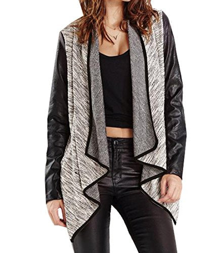 Comfy Women's Loose Long Sleeve Unbalanced Hem Outerwear Aspicture US L