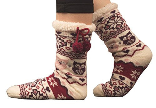 Slipper Socks Knit Tube Socks Women Christmas Stocking Fleece Lining Winter Sock (03)