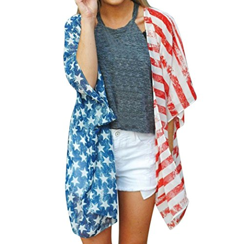 Odeer Independence Day Women American Flag Print Blouse Loose Long Sleeve Cardigan Coat (Polyester,Kimono,Print) (☆Size : XL)