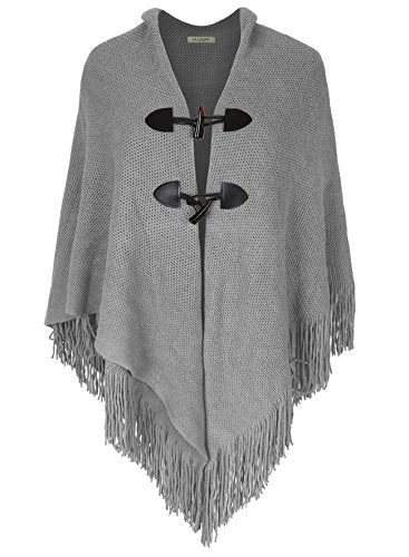 S.K LUXURY Women¡¯s Loose Fitting Poncho Cape Shawl V Hem Wrap Blanket With Buttons Grey One Size