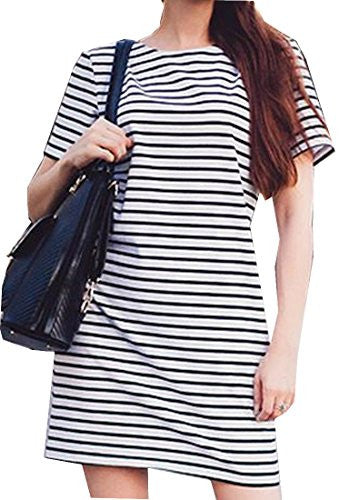 Comfy Women's Striped Short Sleeve Loose Shirt Dresses Aspicture US M