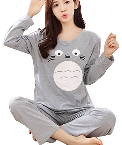 Women Two Piece Cotton Carton Totoro Pajamas Long Sleeve Top Pants Sleepwear Set size M (Grey)
