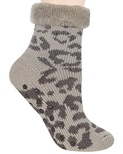 "Capelli New York Ladies 7"" Leopard Slipper Sock Natural Combo One Size"