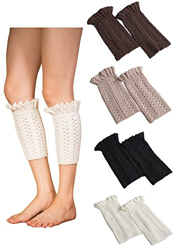 Vocni 4 Pack Womens Short Boots Socks Crochet Knitted Flower Boot Cuffs Leg Warmers Socks,4 Pairs-style A