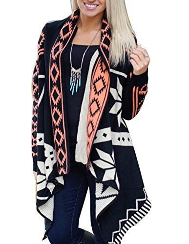 Womens Floral Kimono Cardigan Long Sleeve Knit Sweater Open Front Coat