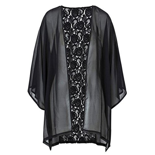 Women Cover Up,Neartime Lace Hollow Black Kimono Shawl Cardigan Blouse Casual Tops (M)