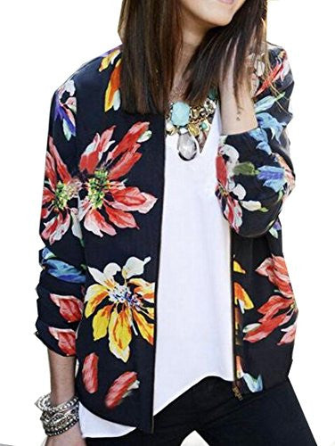 Generic Women Long Sleeve Floral Printed Casual ZipperCoat Blazer As Picture S