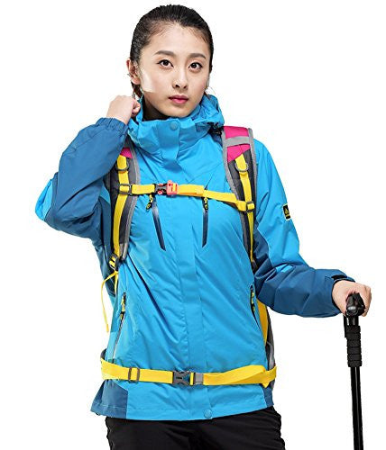 Oncefirst Women's Windproof Hoodie Outdoor Colorblock Active Jacket 2XL Blue