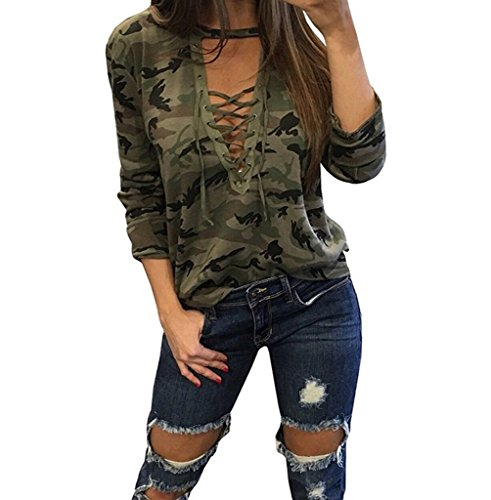 ABD Womens V Neck Long Sleeve Camouflage Print Bandage Loose Blouse T-Shirt Top Medium Green Camouflage