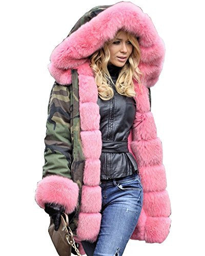 Roiii Women Militray Outdoor Parka Hoodie Fur Lining Jacket Coat Winter Overcoat (X-Large, Army Green With Pink Fur)