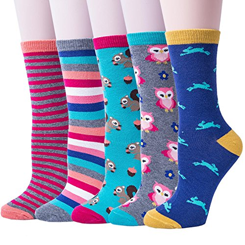 5 Pairs Womens Winter Colorful Cute Casual Cotton Warm Socks, Mix Color(owl), One Size
