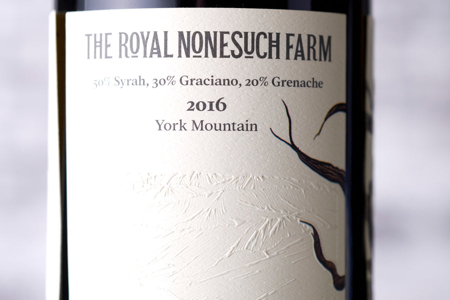 The Royal Nonesuch Farm Red Blend Wine Label Closeup