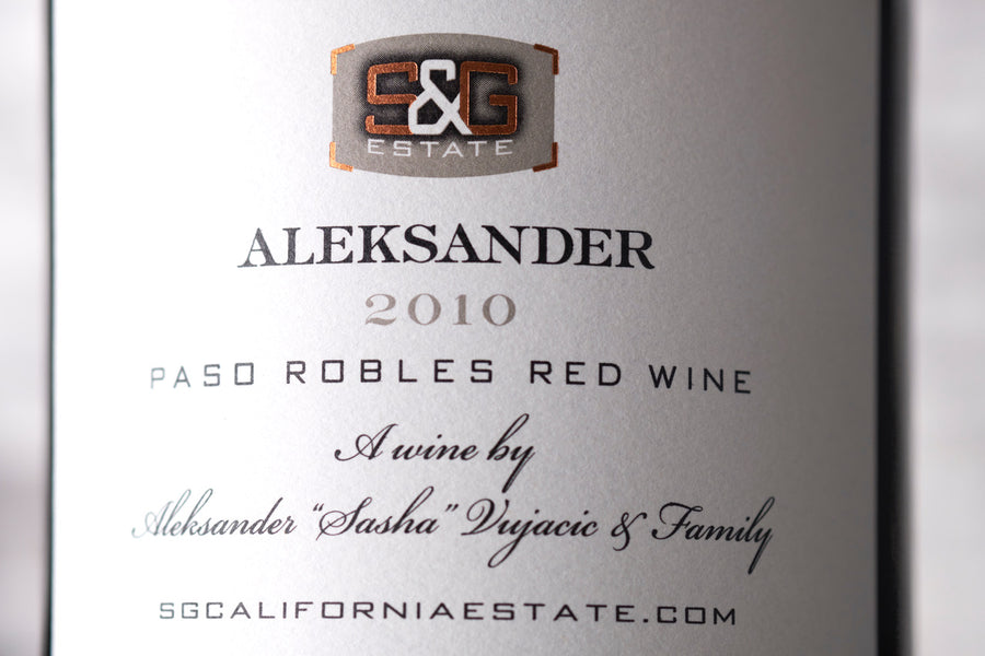 Aleksander red blend wine label closeup