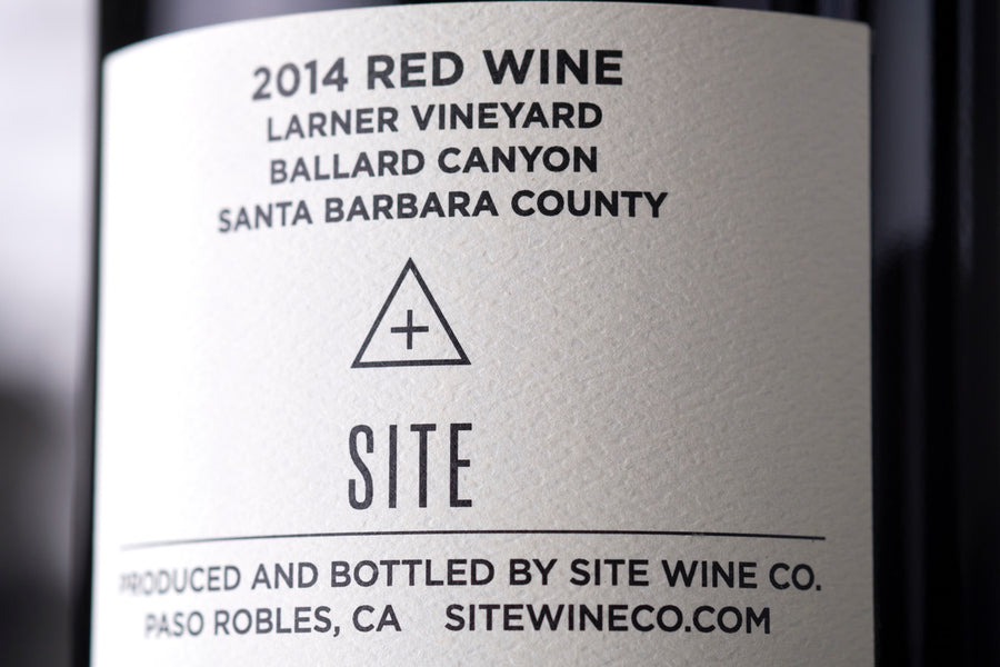 Site Wines red blend wine label closeup