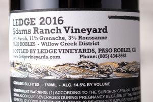 Ledge Vineyards red blend wine label closeup