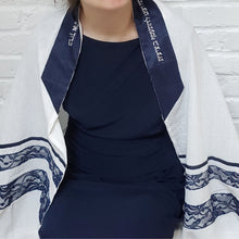 White Cotton and Navy Lace Ladies Tallit
