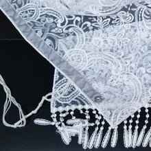 Embroidered Lace Ladies Tallit with Fringe