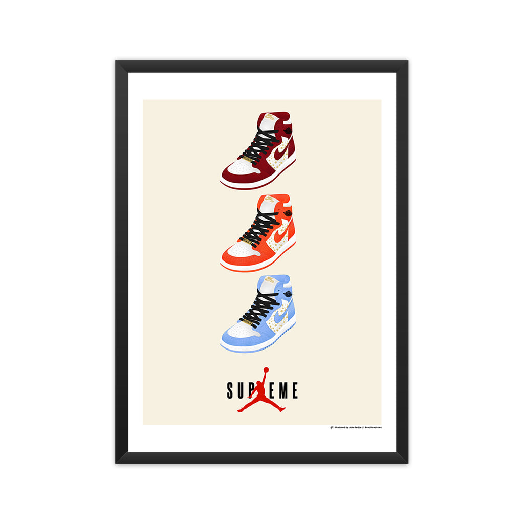 Air Jordan 1 x Supreme Pack framed