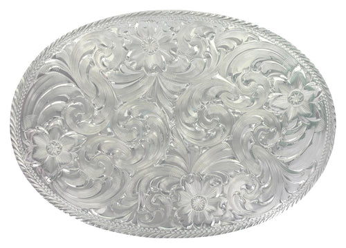 Oval Silver Engraved Western Belt Buckle