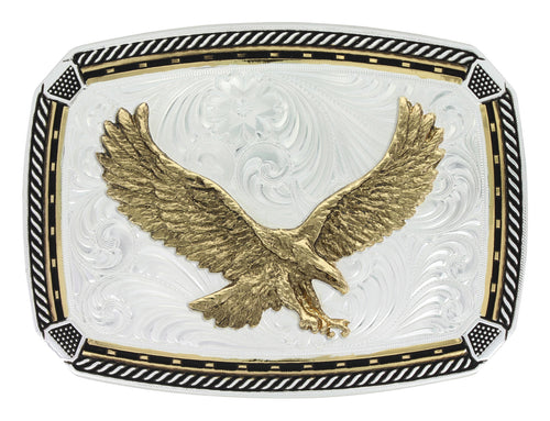 Two Tone Fastened at All Four Corners Buckle with Soaring Eagle