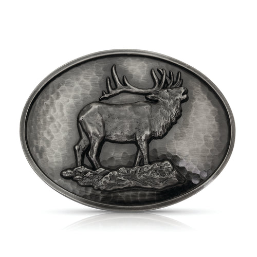 Bugling Elk Oval Hammered Buckle