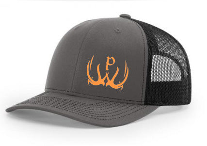 Pursue The Wild Charcoal Gray Logo Hat- Orange
