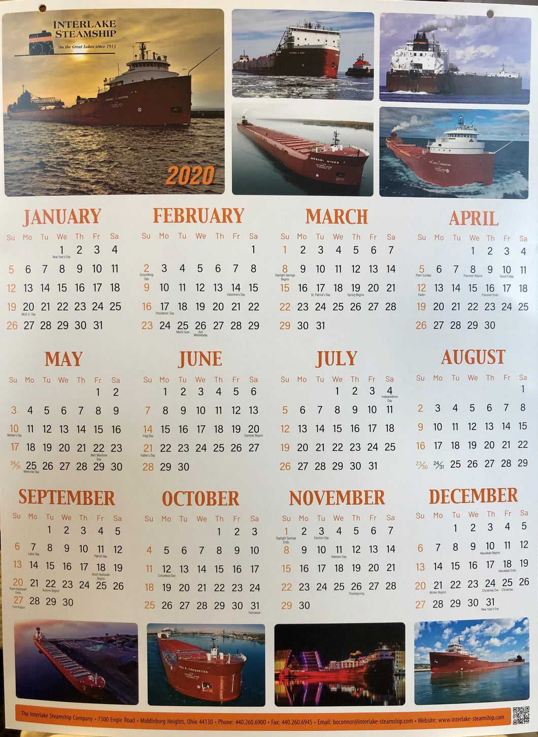 2020 Interlake Steamship Company Wall Calendar