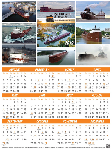 2019 Interlake Steamship Company Wall Calendar