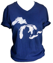 Adult Blue V-neck Great Lakes T-shirt