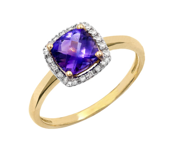 14KT Gold Genesis Amethyst and Diamond Ring
