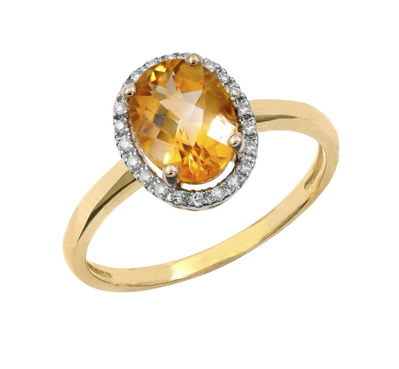 14KT Gold Genesis Citrine and Diamond Ring